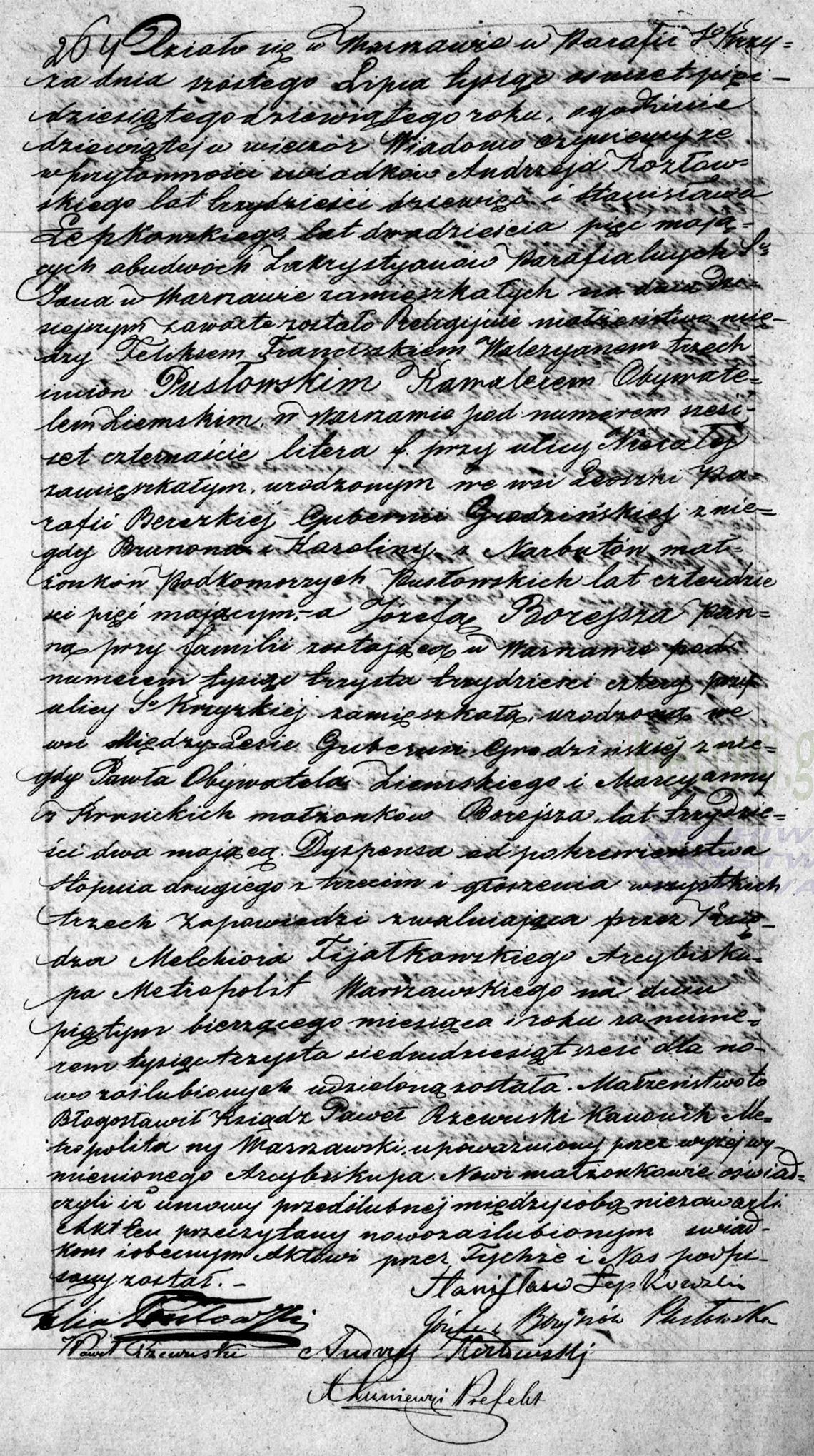 Akt stanu cywilnego małżeństwa Feliks Franciszek Walezyan Pusłowski & Józefa Borejsza 06.07.1859 r.