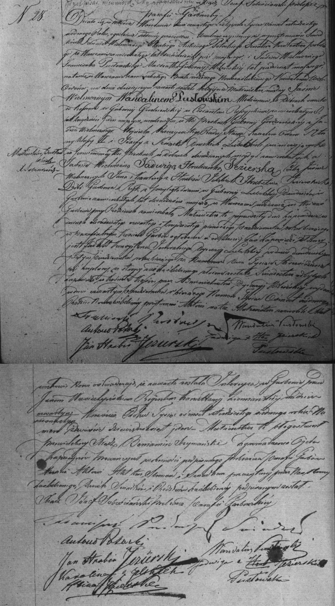 Akt stanu cywilnego małżeństwa Wandalin Pusłowski & Jadwiga Jezierska 04.11.1847 r.