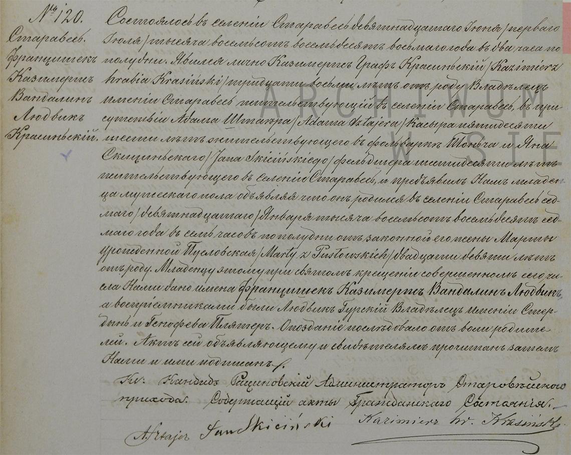 Akt stanu cywilnego urodzenia Franciszek Kazimierz Wandalin Ludwik Krasiński 07/19.01.1887 r.