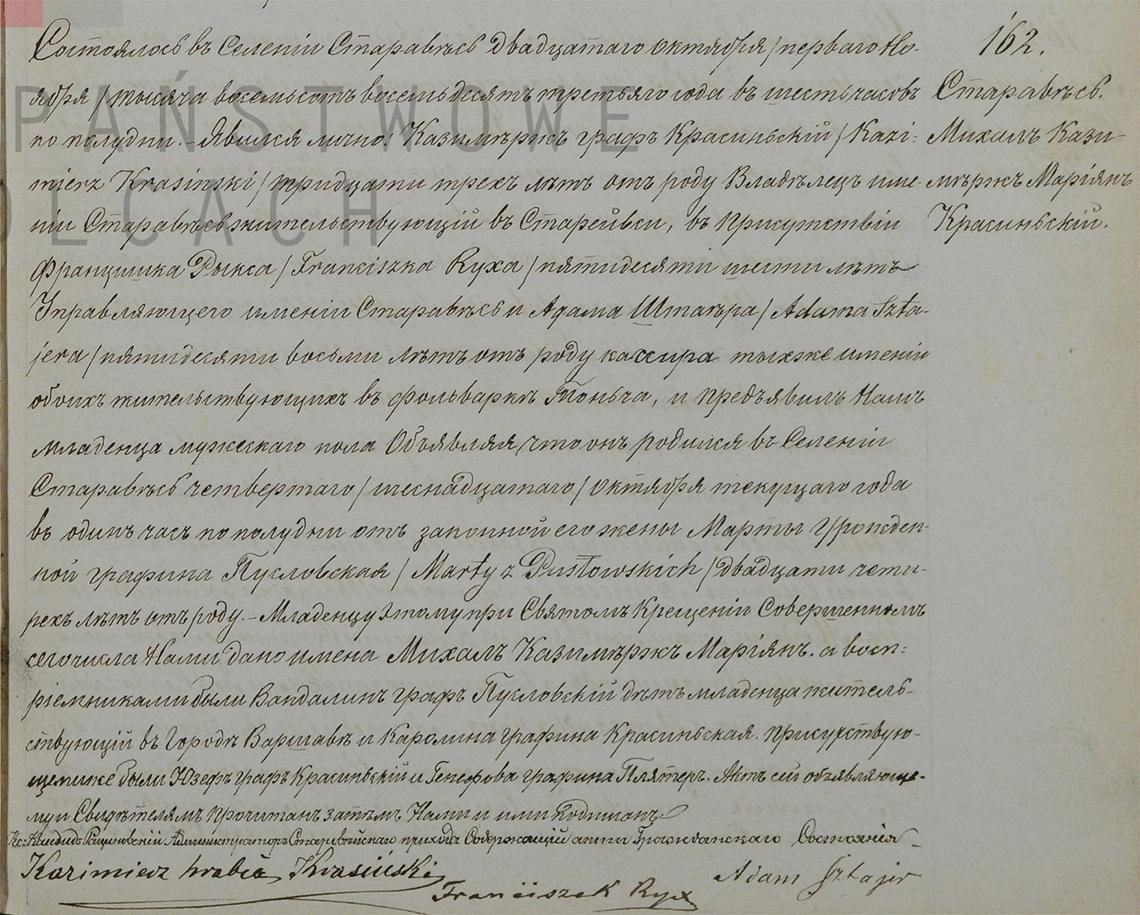 Akt stanu cywilnego urodzenia Michał Kazimierz Marian Krasiński 04/16.10.1883 r.