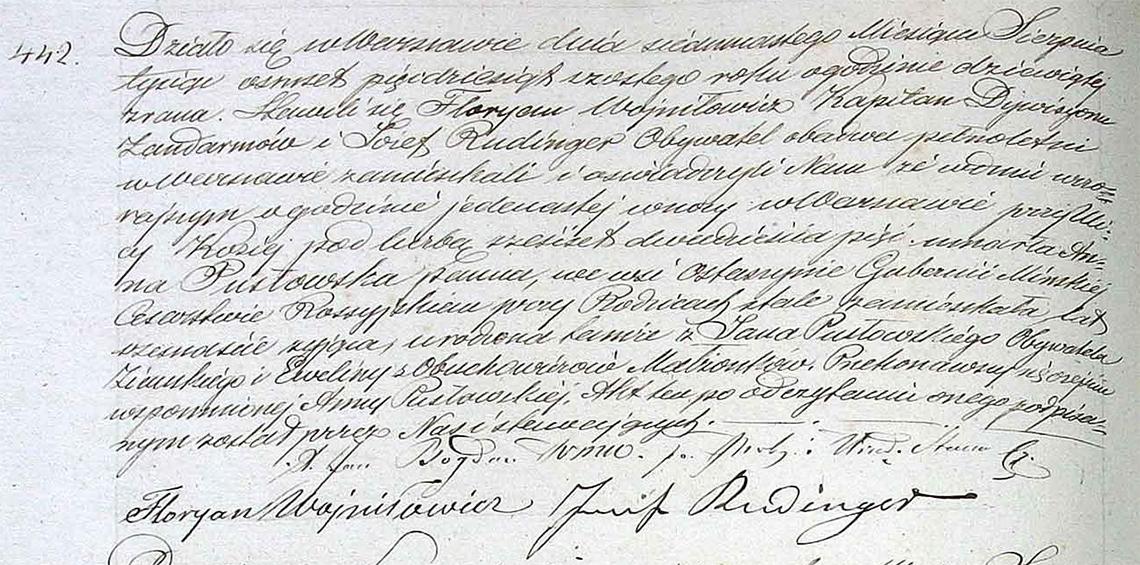 Akt stanu cywilnego zgonu Anna Pusłowska 16.08.1856 r.
