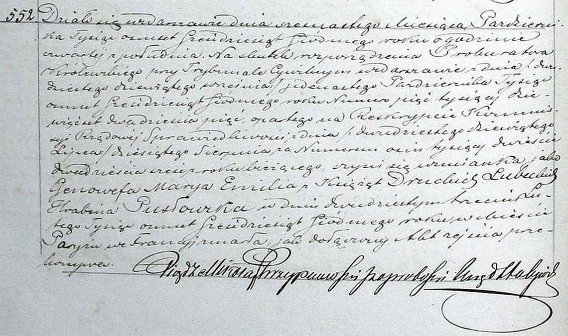 Akt stanu cywilnego zgonu Genowefa Marya Emilia Pusłowska 23.02.1867 r.