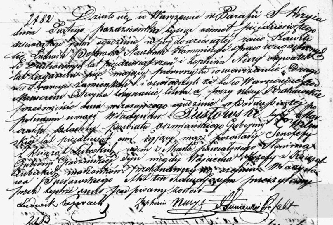 Akt stanu cywilnego zgonu Władysław Pusłowski 04.10.1859 r.