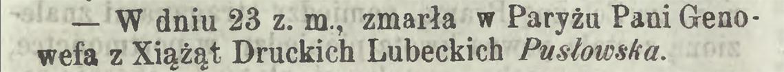 Nekrolog po śmierci Genowefy Pusłowskiej w dniu 11/23.02.1867 r. (Kurier Warszawski nr 52 z 1867 r.)
