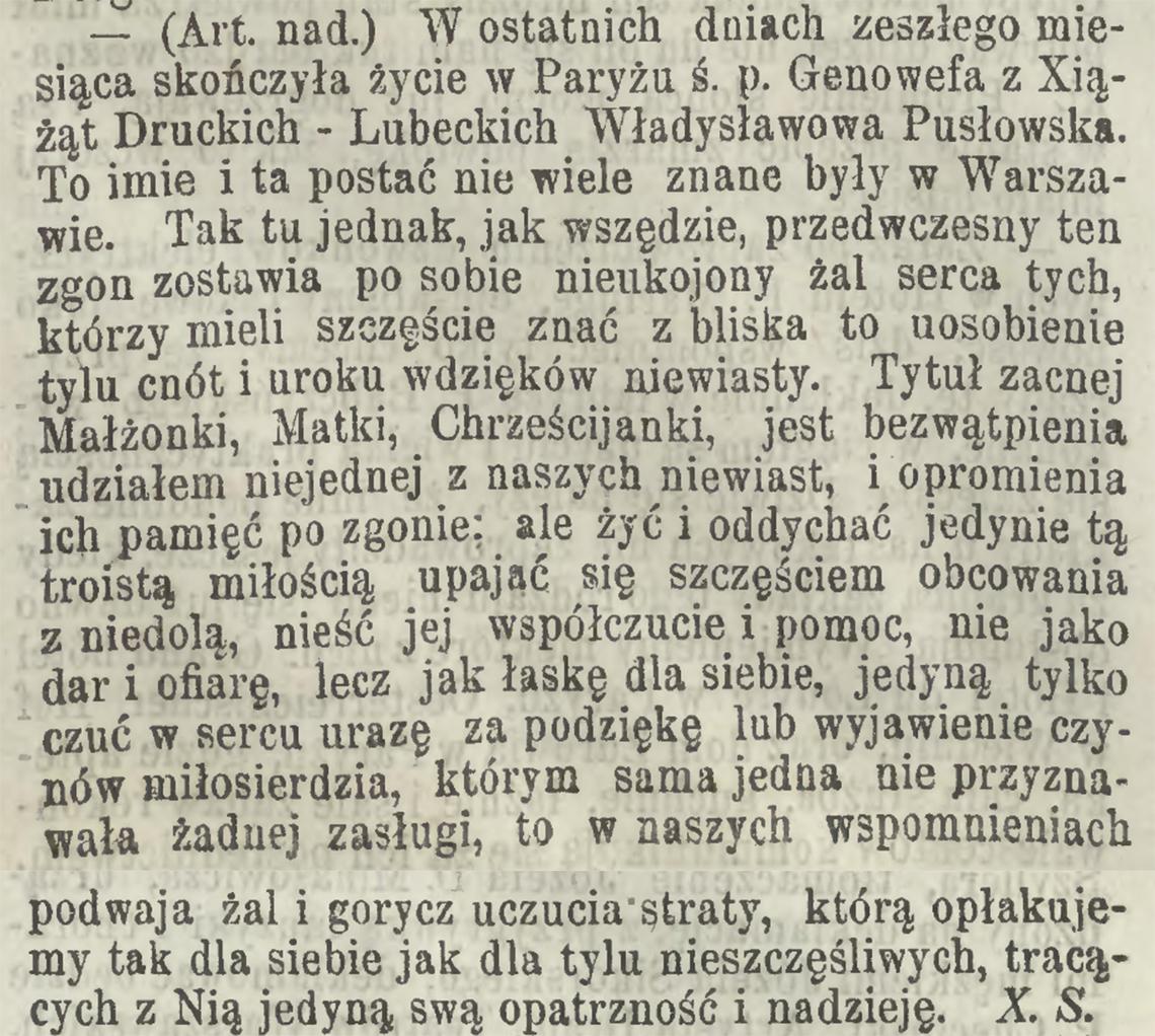 Wspomnienie pogrobowe po śmierci Genowefy Pusłowskiej z ks. Druckich-Lubeckich w dniu 11/23.02.1867 r. (Kurjer Warszawski nr 61 z 1867 r.)