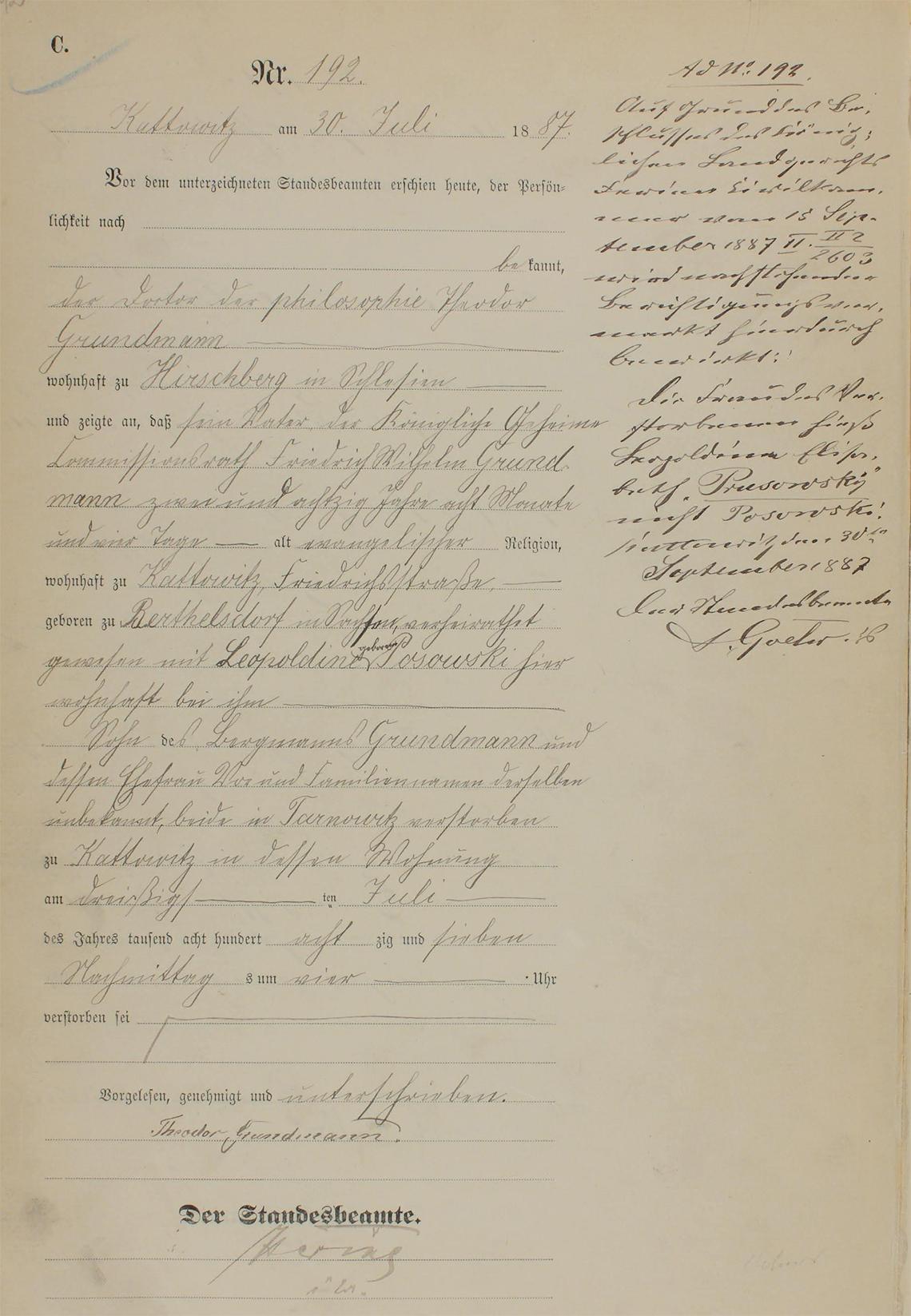 Akt USC zgonu Friedrich Wilhelm Grundmann 30.07.1887 r.