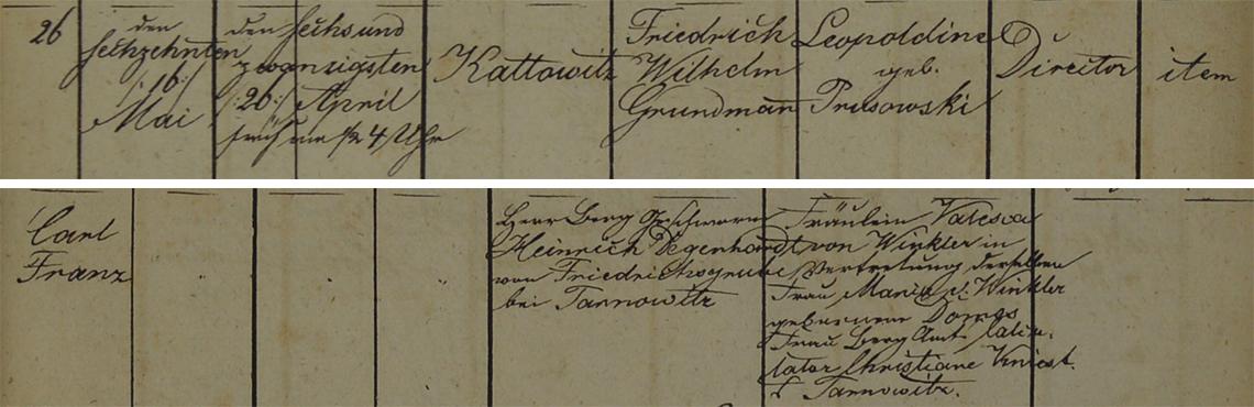 Akt metrykalny chrztu Carl Franz Grundmann ur. 26.04.1841 r.