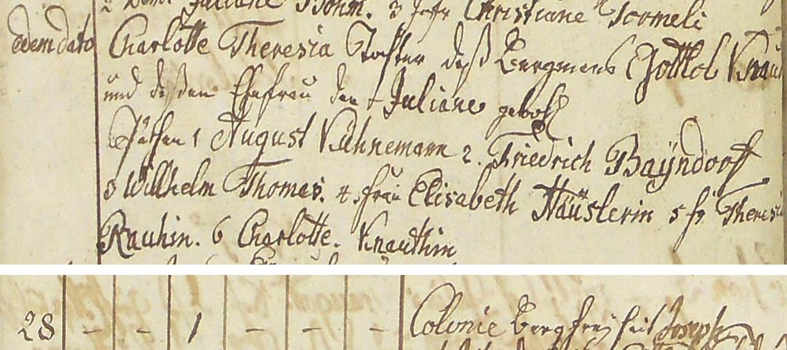 Akt metrykalny chrztu Charlotte Theresia Knaut w dn. 27.06.1812 r.