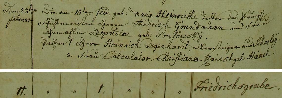 Akt metrykalny chrztu Maria Heinriette (Henriette) Grundmann ur. 10.02.1835 r.