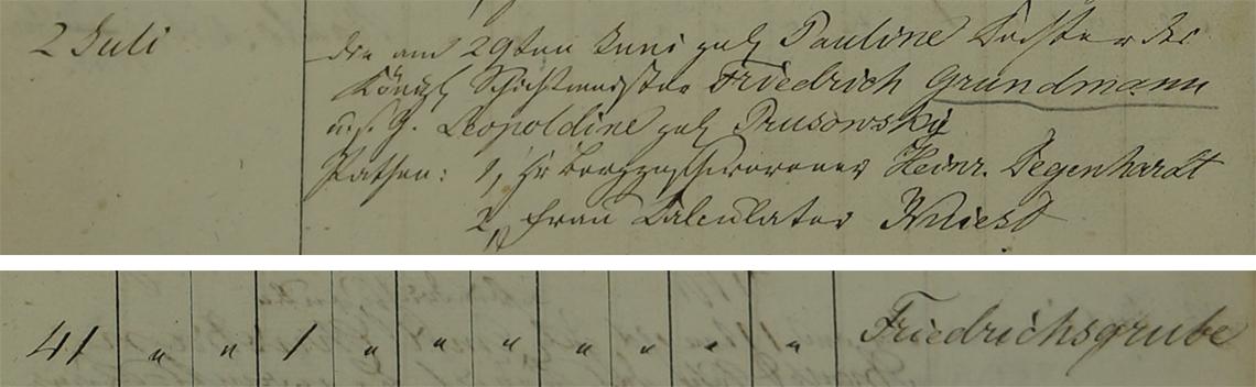 Akt metrykalny chrztu Pauline Grundmann ur. 29.06.1837 r.