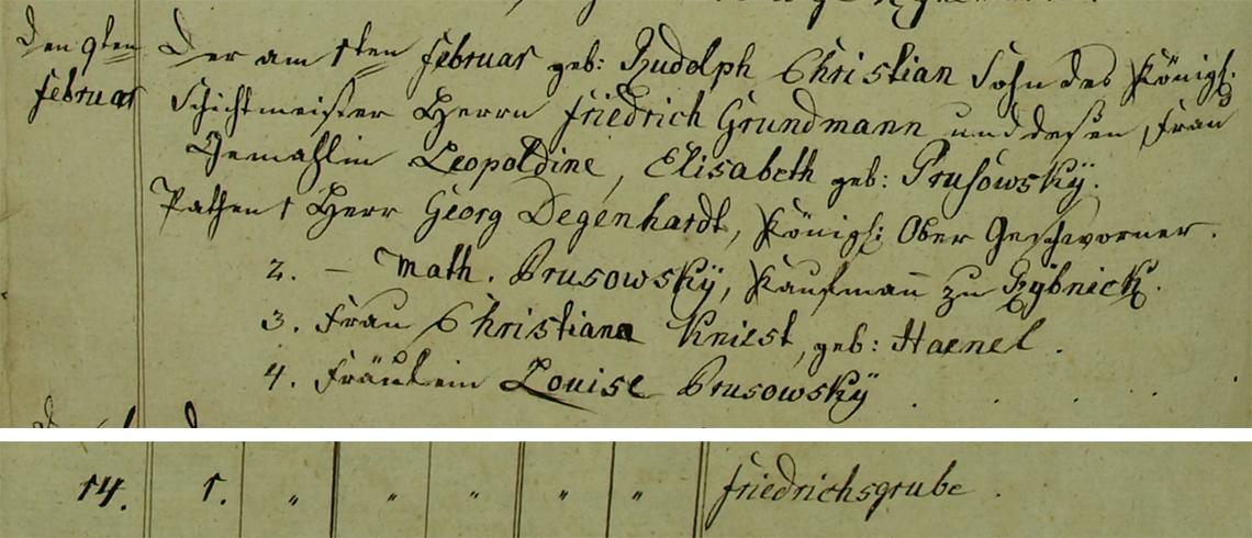 Akt metrykalny chrztu Rudolph Christian Grundmann ur. 01.02.1834 r.