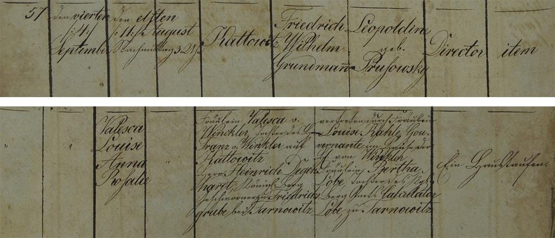Akt metrykalny chrztu Valesca Louise Anna Rosalie Grundmann ur. 11.08.1842 r.