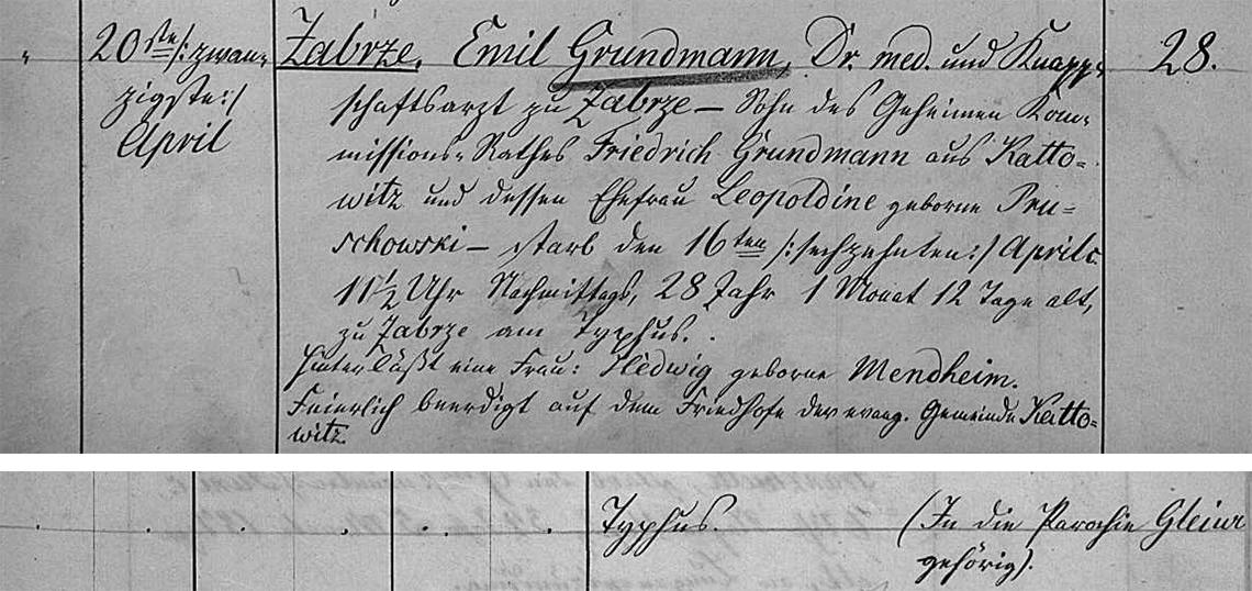 Akt metrykalny zgonu Emil Grundmann zm. 16.04.1858 r.j