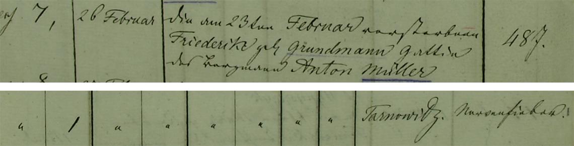 Akt metrykalny zgonu Friederike Müller 23.02.1845 r.