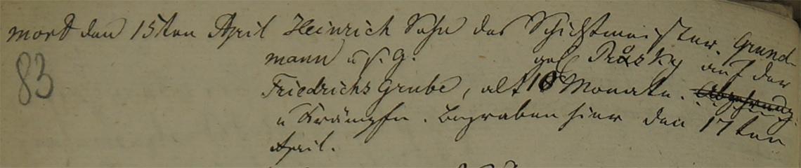 Akt metrykalny zgonu Heinrich Grundmann zm. 15.04.1833 r.