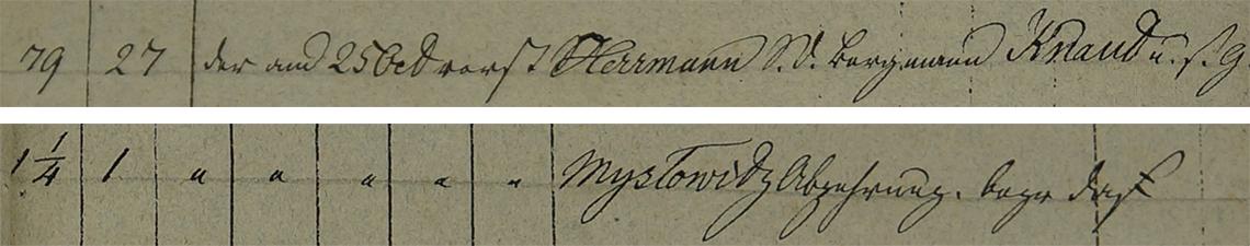 Akt metrykalny zgonu Herrmann Knaut 25.10.1835 r.