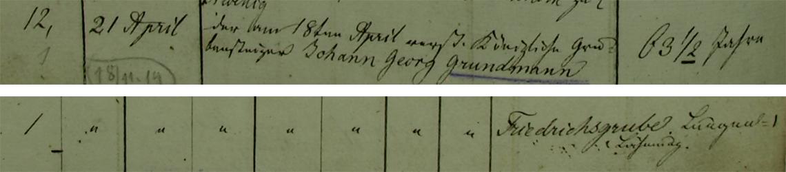 Akt metrykalny zgonu Johann Georg Grundmann 18.04.1838 r.