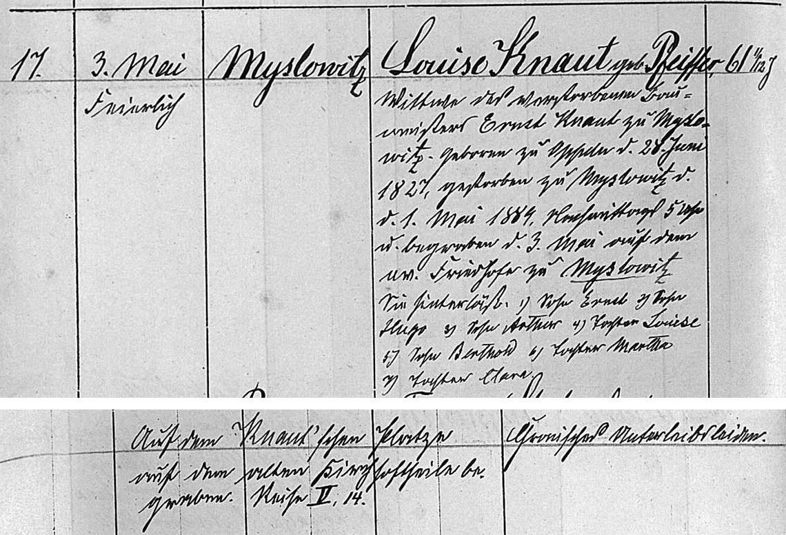 Akt metrykalny zgonu Louise Knaut zm. 01.05.1889 r.