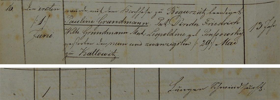 Akt metrykalny zgonu Pauline Grundmann 29.05.1851 r.