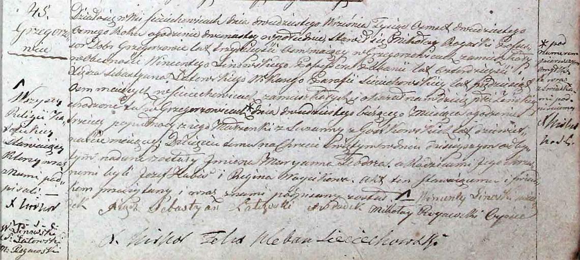 Akt stanu cywilnego urodzenia Maryanna Teodora Rogaska (Rogawska) 20.09.1828 r.