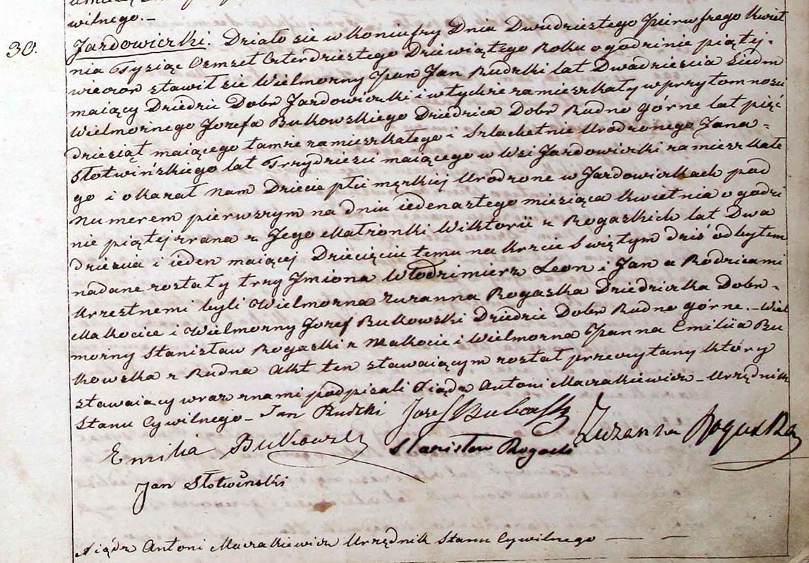 Akt stanu cywilnego urodzenia Włodzimierz Leon Jan Rudzki 11.04.1849 r.