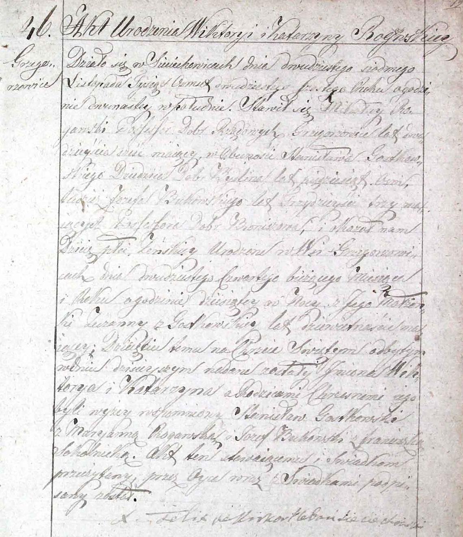 Akt stanu cywilnego urodzenia Wiktorya Katarzyna Rogawska (Rogaska) 24.11.1826 r.