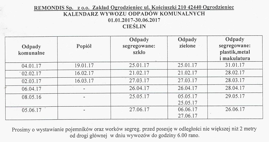 Harmonogram wywozu odpadów komunalnych 01.01.2017 - 30.06.2017
