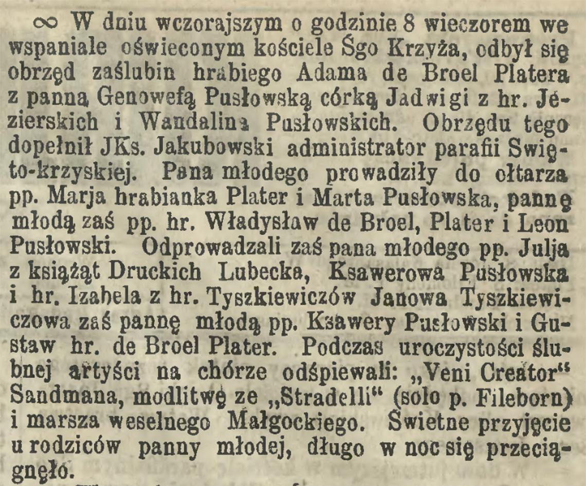 Informacja prasowa o ślubie hr. Adama de Broel Platera & Genowefy Pusłowskiej w dniu 21.06/03.07.1872 r. (Kurier Warszawski nr 145 z 1872 r.)