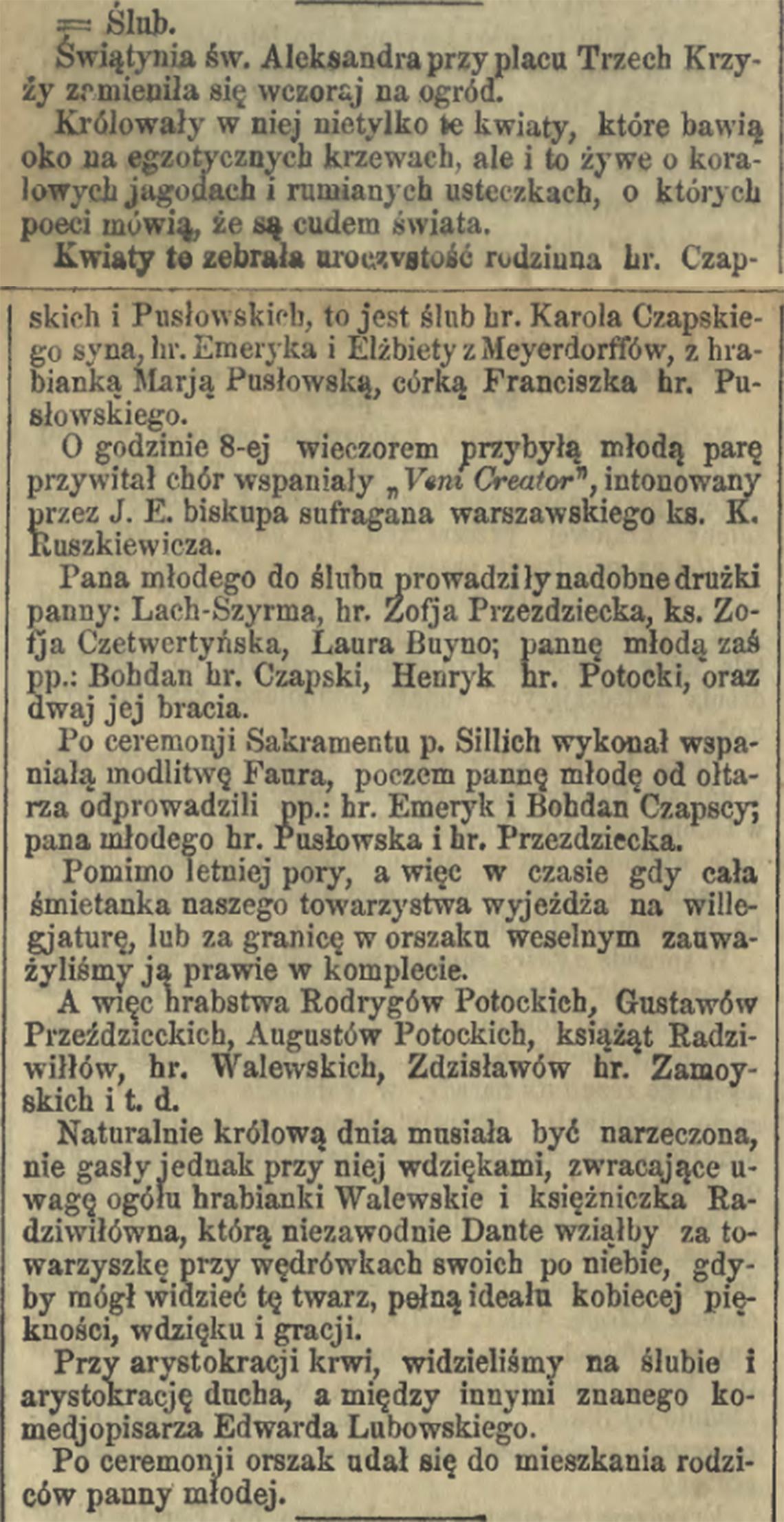 Informacja prasowa o ślubie hr. Karola Czapskiego & Marji Pusłowskiej w dniu 09/21.07.1894 r. (Kurier Warszawski nr 200 z 1894 r.)