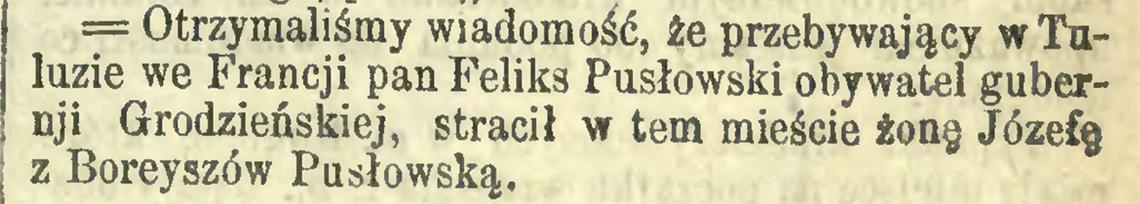 Nekrolog po śmierci Józefy z Boreyszów Pusłowskiej w listopadzie 1873 r. (Kurier Warszawski nr 246 z 1873 r.)