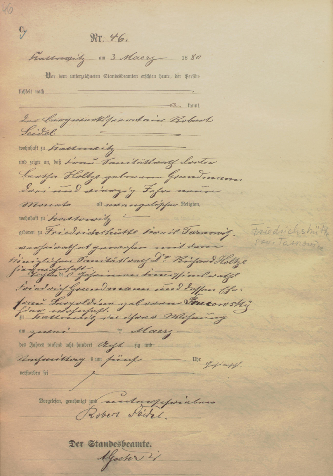Akt USC zgonu Bertha Holtze 02.03.1880 r.