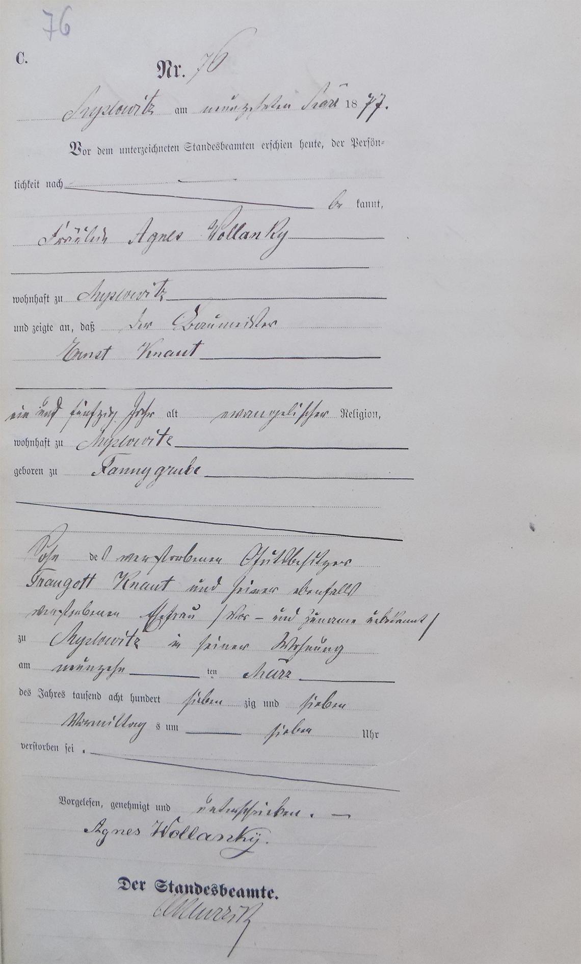 Akt USC zgonu Ernst Knaut 19.03.1877 r.