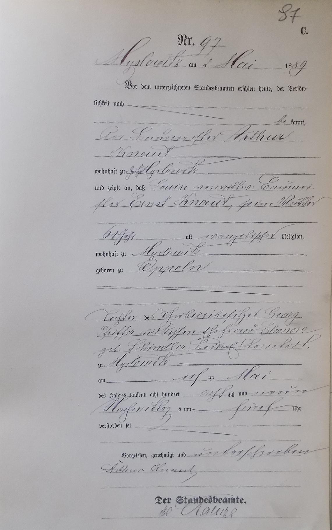 Akt USC zgonu Louise Knaut 01.05.1889 r.