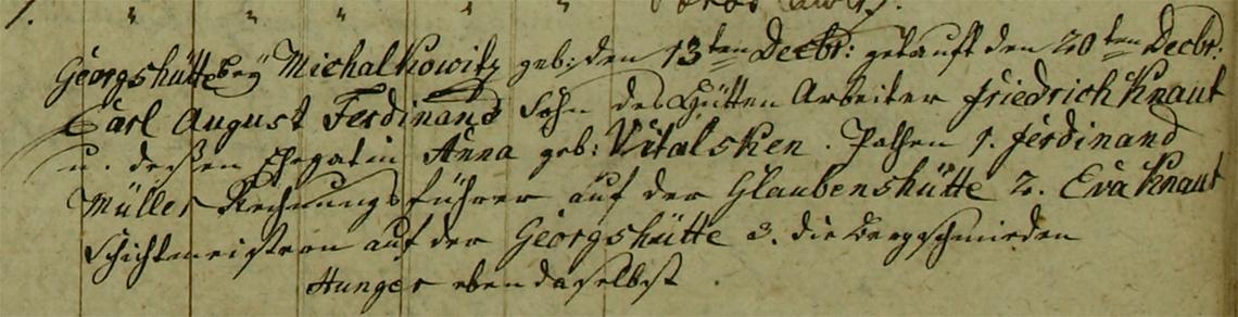 Akt metrykalny chrztu Carl August Ferdinand Knaut ur. 10.12.1829 r.
