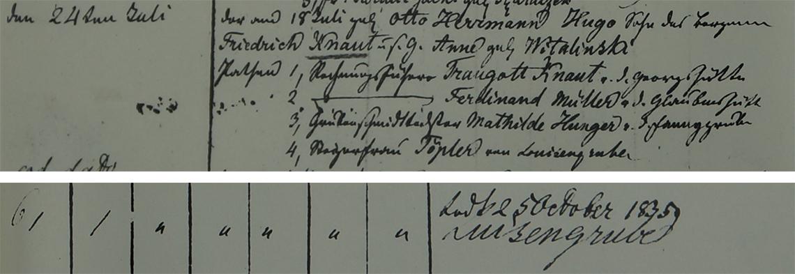 Akt metrykalny chrztu Otto Herrmann Hugo Knaut ur. 18.07.1834 r.