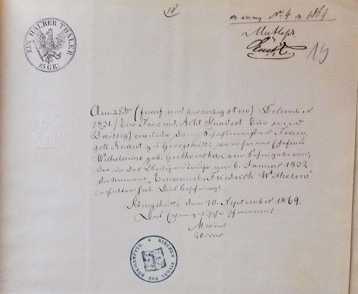 Dowody (allegaty) do aktu małżeństwa Emanuel Friedrich Wilhelm Knaut & Julia Joanna Pace w dniu 04/16.09.1869 roku (2)