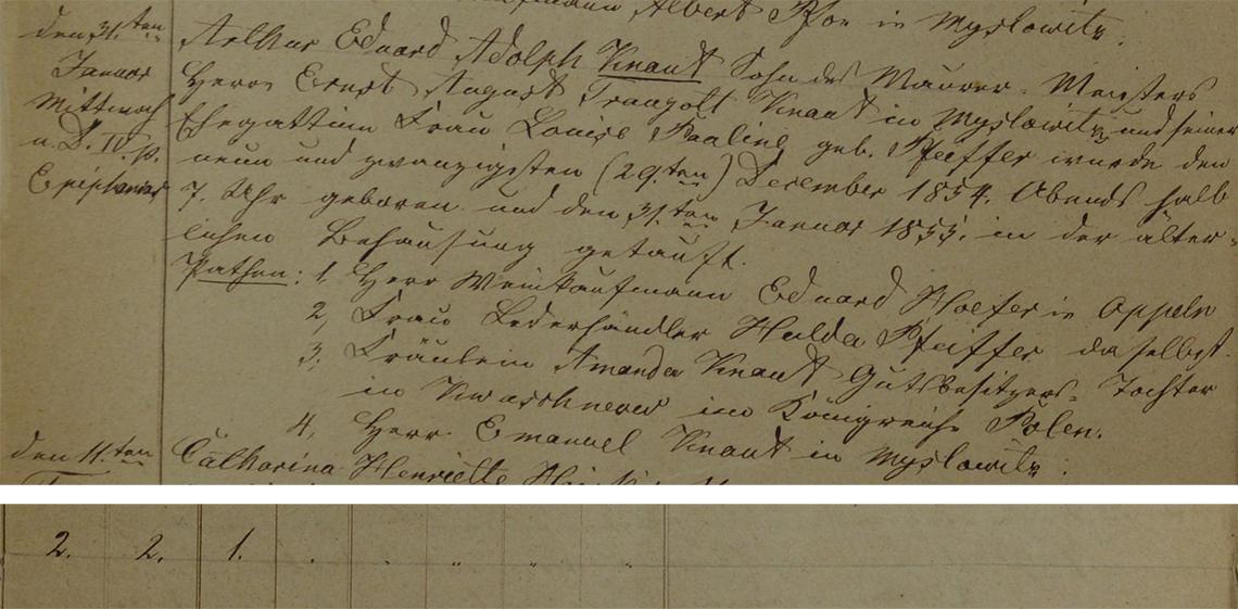 Akt metrykalny chrztu Arthur Eduard Adolph Knaut ur. 29.12.1854 r.