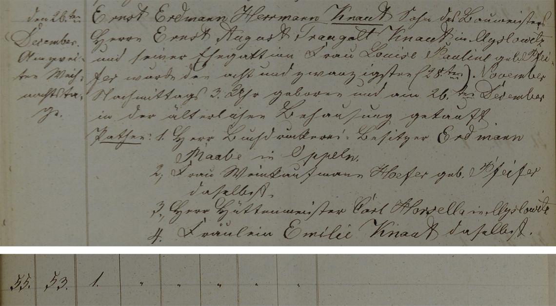 Akt metrykalny chrztu Ernst Erdman Herrmann Knaut ur. 28.11.1852 r.