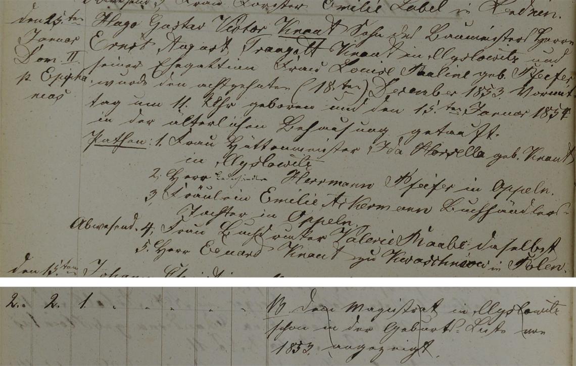 Akt metrykalny chrztu Hugo Gustav Victor Knaut ur. 18.12.1853 r.