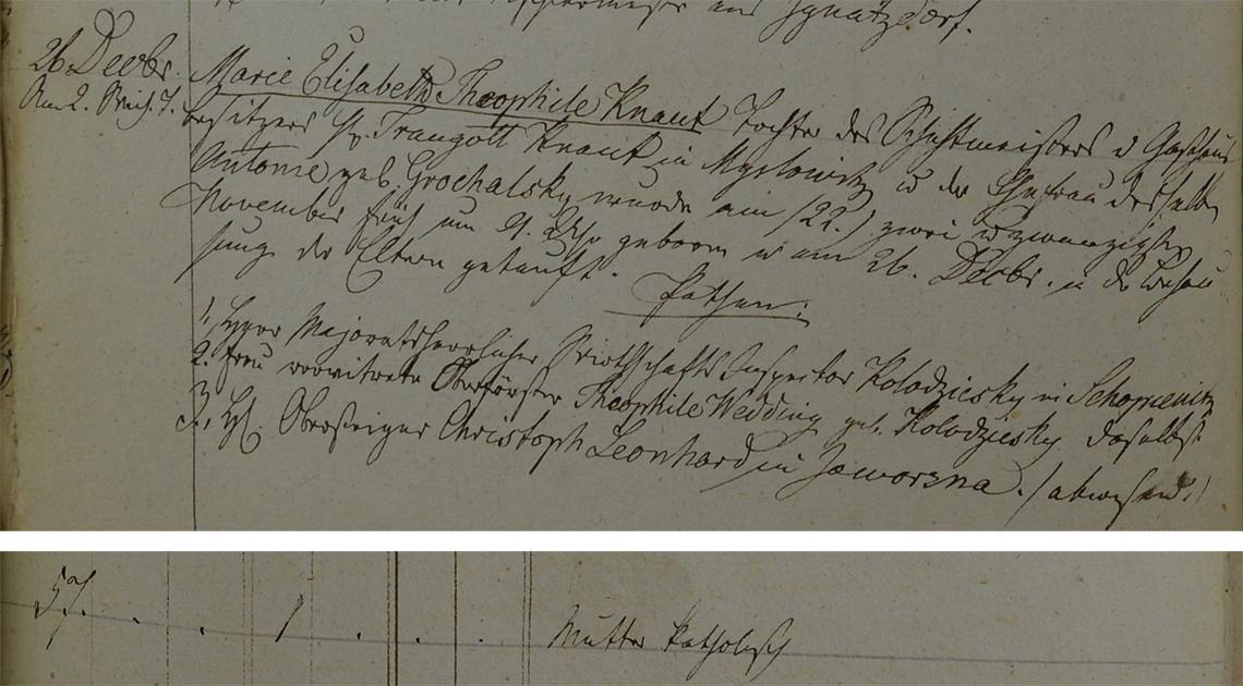 Akt metrykalny chrztu Marie Elizabeth Theophile Knaut ur. 22.11.1839 r.