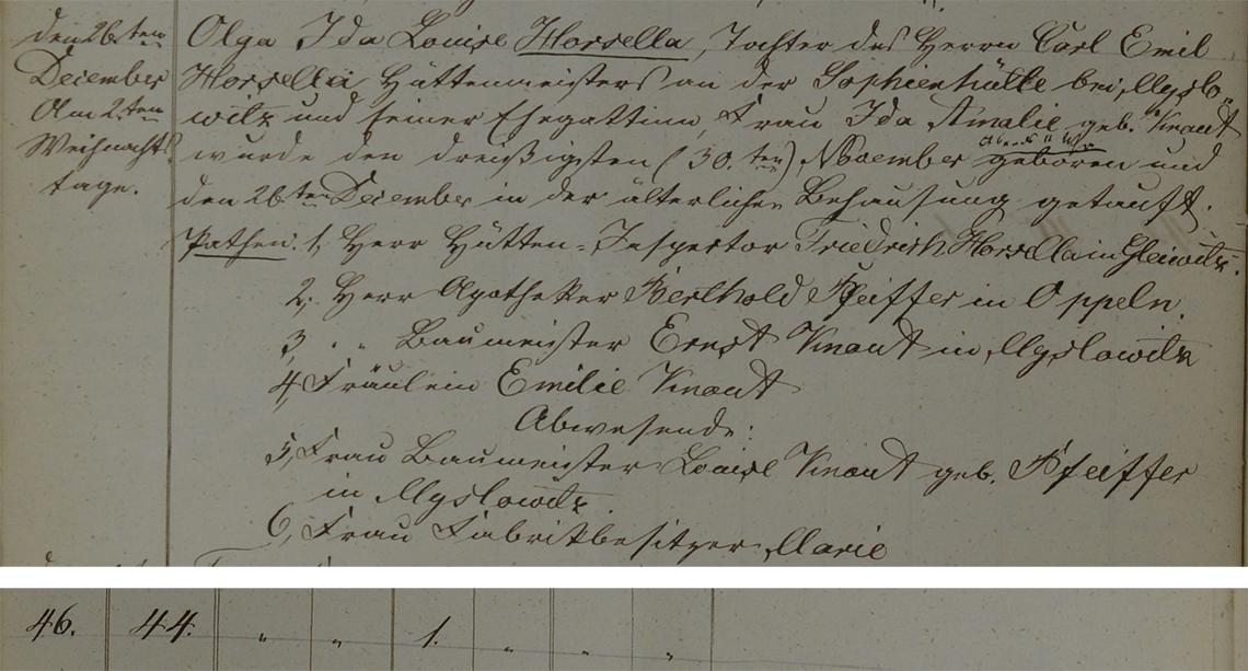 Akt metrykalny chrztu Olga Ida Louise Horsella ur. 30.11.1853 r.