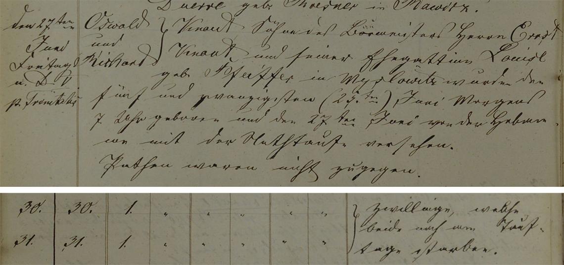 Akt metrykalny chrztu Oswald i Richard Knaut ur. 25.06.1856 r. oraz ich zgonu 27.06.1856 r.