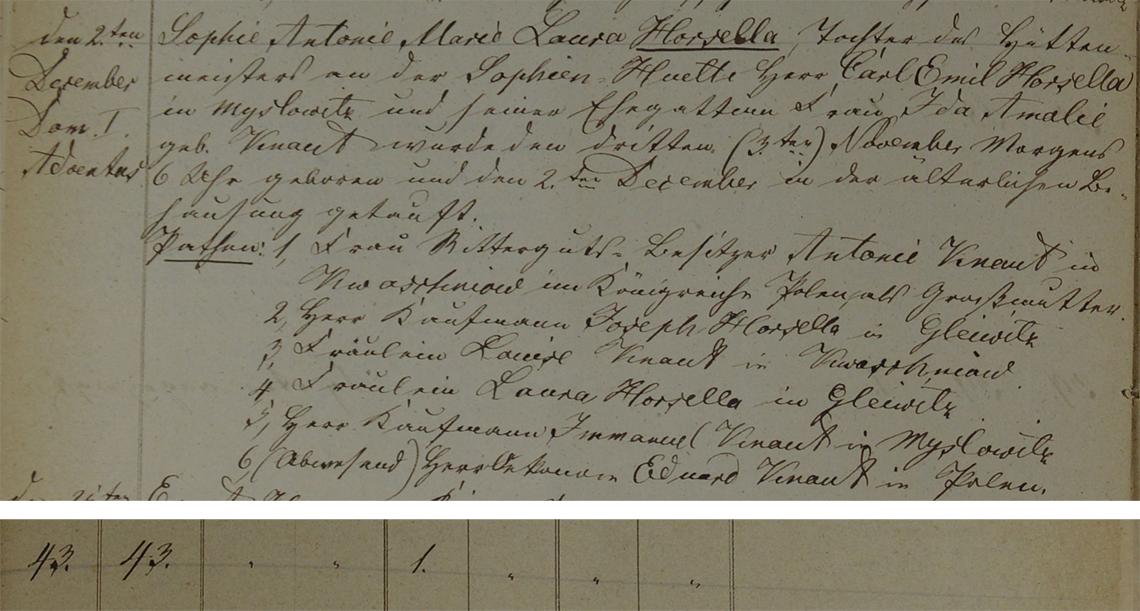Akt metrykalny chrztu Sophie Antonie Marie Laura Horsella ur. 03.11.1855 r.