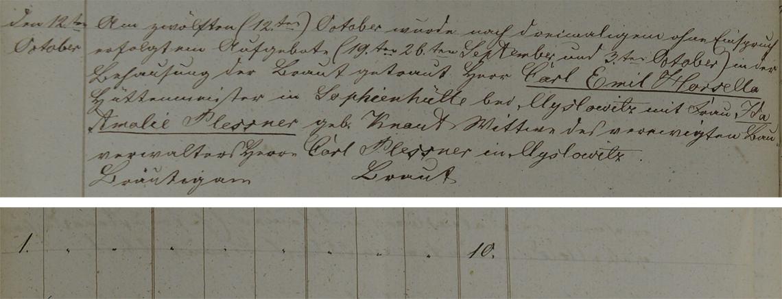 Akt metrykalny małżeństwa Carl Emil Horsella & Ida Amelia Plessner 12.10.1852 r.