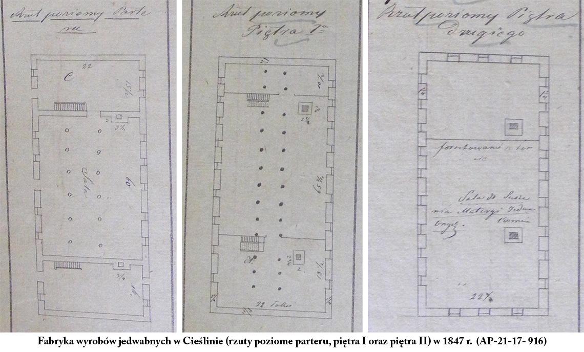 Fabryka wyrobów jedwabnych w Cieślinie (rzuty poziome parteru, piętra I oraz piętra II) w 1847 r. (AP-21-17- 916)
