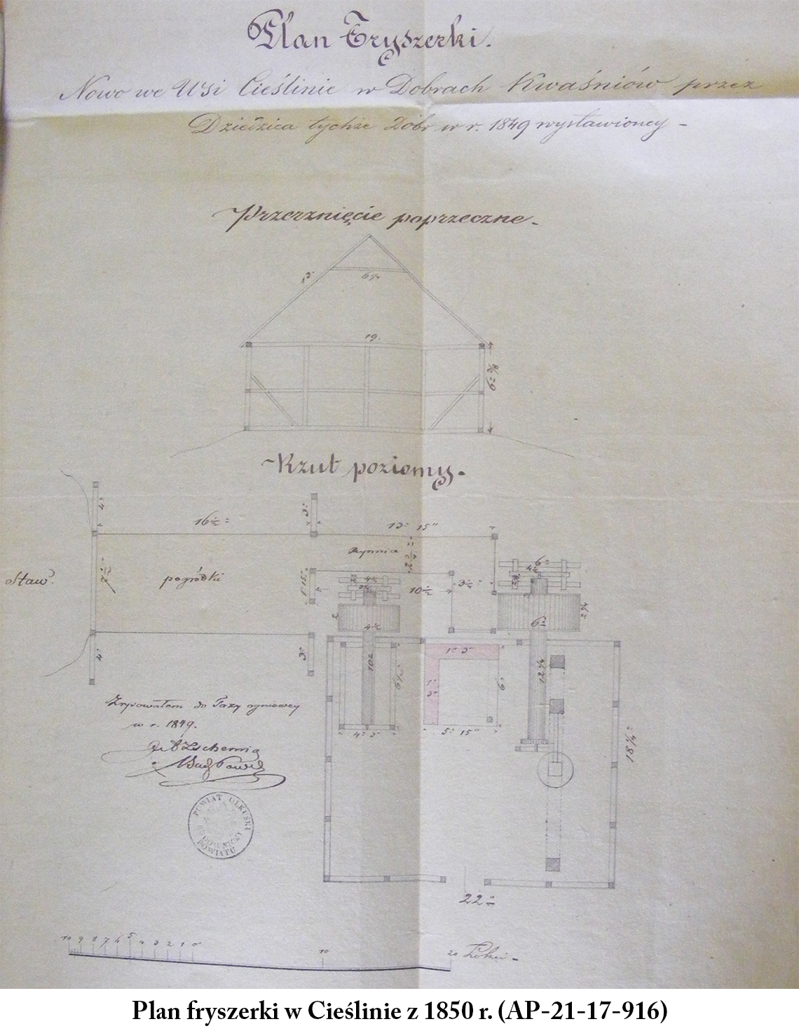 Plan fryszerki w Cieślinie z 1850 r. (AP-21-17-916)