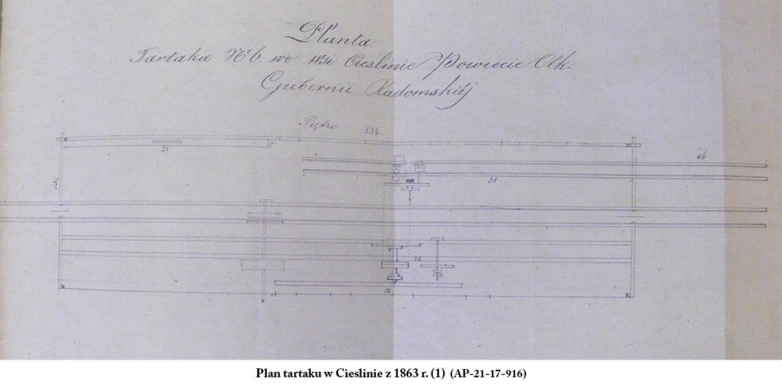 Plan tartaku w Cieślinie z 1863 r. (1) (AP-21-17-916)