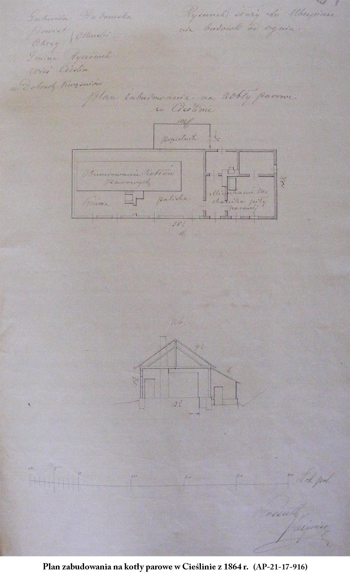 Plan zabudowania na kotły parowe w Cieślinie z 1864 r. (AP-21-17-916)