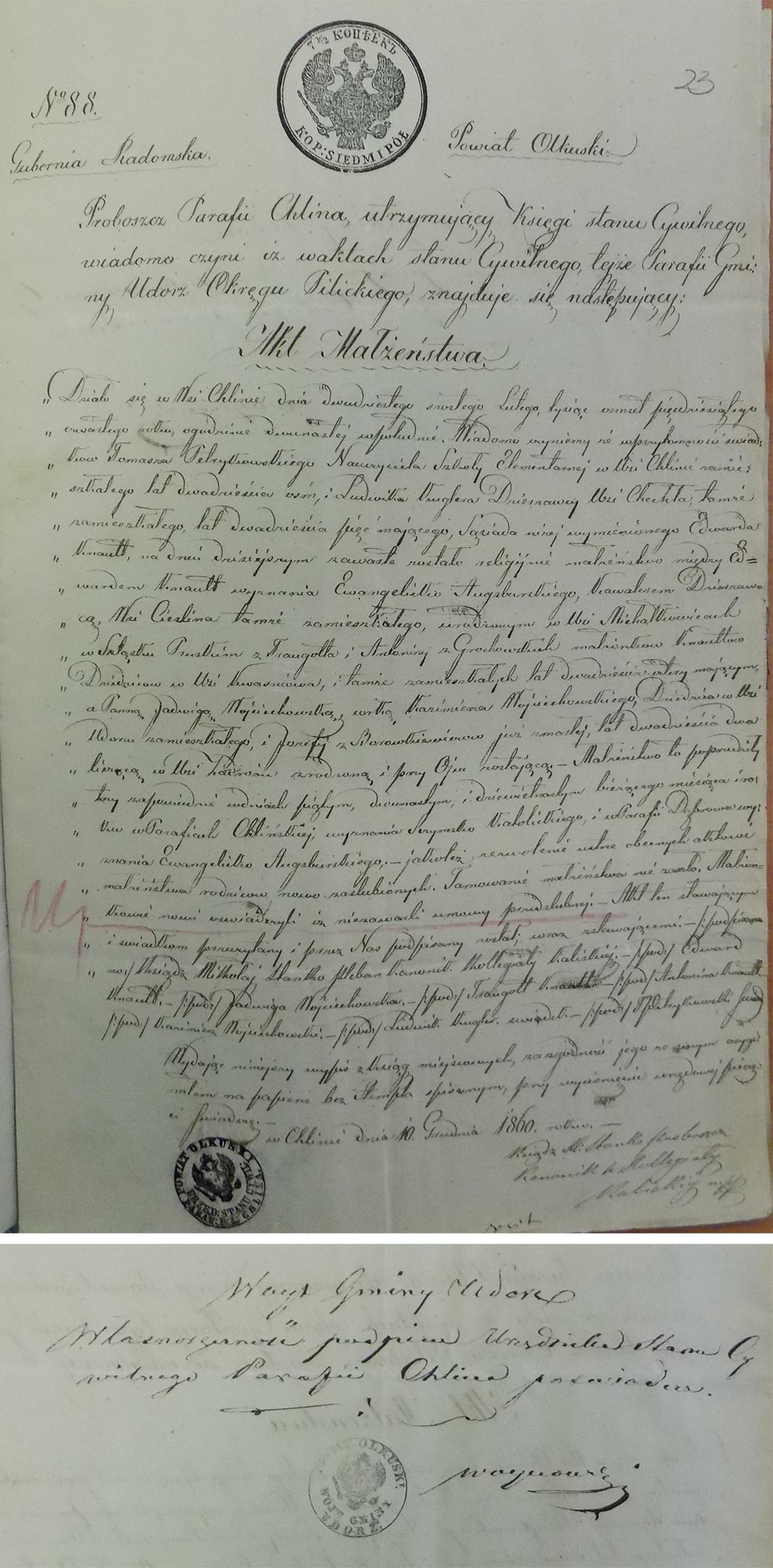 Akt stanu cywilnego małżeństwa Edward Knaut & Jadwiga Wojciechowska 26.02.1854 r.