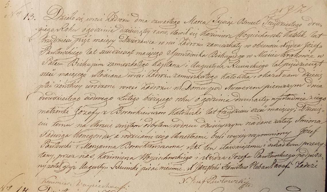 Akt stanu cywilnego urodzenia Jadwiga Konegonda Woyciechowska ur. 27.02.1832 r.